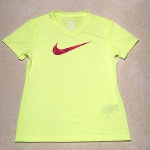 Women's Nike Dri-Fit Shirt Neon Green Med Juniors